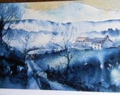 Luxury Card - Mist Rising over Snow ,   watercolor,Wicklow mountains Ireland   Winter Greeting Cards -Luxurious,blank for your message