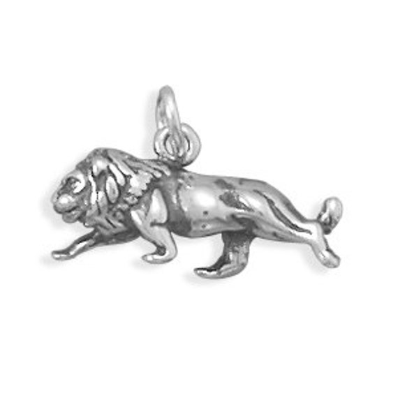 leo charm pendant sterling silver 3d by