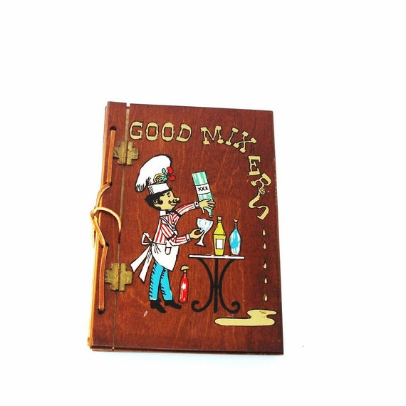 Cookbook Holder With Cover : Folk art recipe book holder wooden covers mix drink