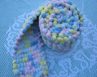 ON SALE - Pom Pom Scarf Hand Knitted in shades of Pink, Blue, Yellow pastels