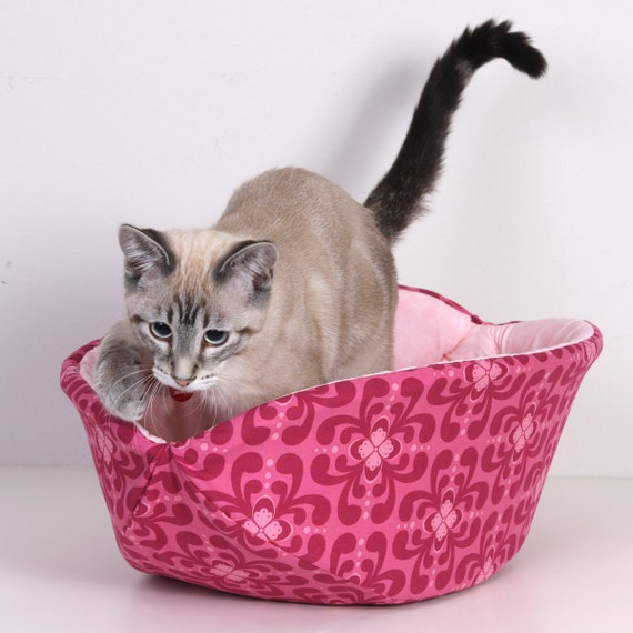 Cat Canoe Modern Hand Made Kitty Bed in Rose Pink Geometric Flowers