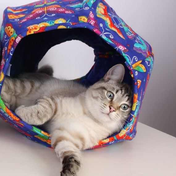 Cat Ball Modern Kitty Cave Bed in Blue Butterfly