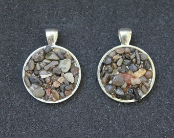Rocks floating in resin necklace pendant silver