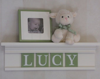 """Green Baby Nursery Decor - Kids Wall Shelf - Personalized for LUCY - 24"""" Linen (Off White) and 4 Wall Letters Light Green"""