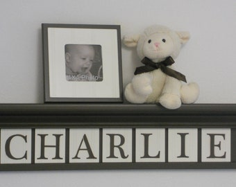 "Children Decor - Nursery Decor 30"" Brown Shelf with 7 Letter Wooden Wall  Tiles - CHARLIE"