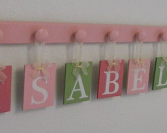 baby name letters hanging sign for nursery includes wood blocks in pink and green name blocks baby name blocks hanging name blocks