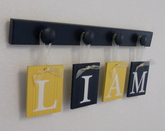 Baby Name Wall Signs in Navy and Yellow - Baby Boy Nursery - LIAM Set includes 4 Wood Pegs Navy Blue