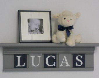 Navy Blue and Gray Baby Nursery Wall Decor / Room Decor - Personalized with Name on Grey Shelf with Gray and Navy Blue Wall Letters