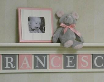 "Kids Wall Shelf, Baby Nursery Decor 36"" Linen (Off White) Shelf with 9 Wooden Wall Tiles Gray and Pastel Light Pink - FRANCESCA"