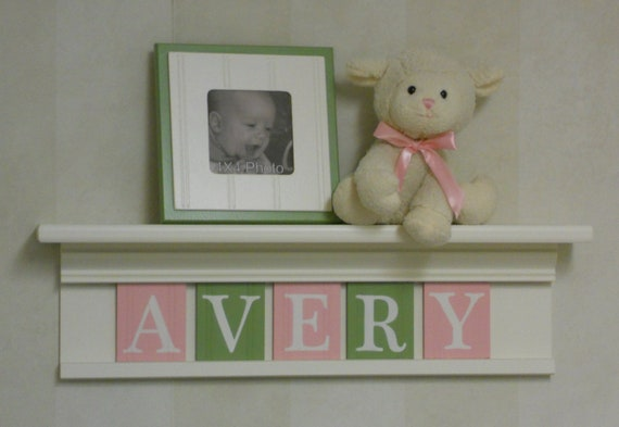 "Pink and Green Baby Girl Nursery Decor - Personalized for AVERY - 24"" Shelf 5 Letters - Baby Girl Shower Gift"