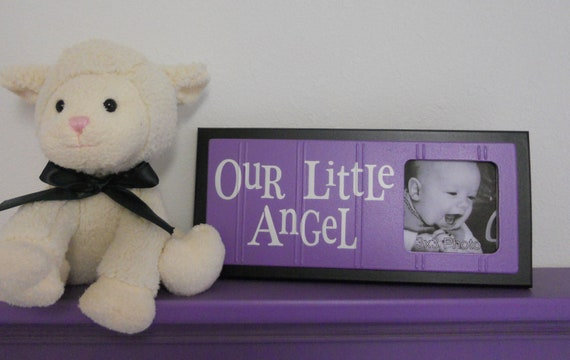 Purple Baby Nursery Decor - OUR LITTLE ANGEL - Picture Frame Sign - Black and Lavender Nursery Gift
