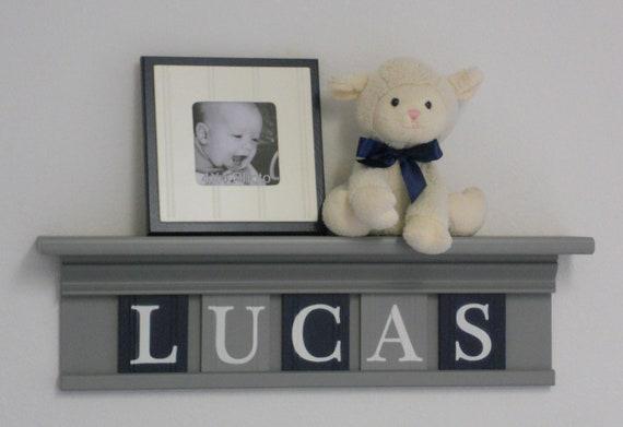 Navy Blue Wall Decor Nursery : Navy blue and gray nursery wall decor room by