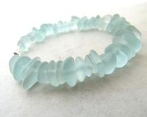 Seaglass Sea Glass Bracelet Aqua Sea Foam Small  BellinaCreations Bellina Creation