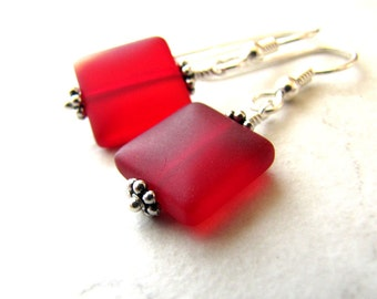 Sea Glass Seaglass Earrings Red Berry BellinaCreations Bellina Creation