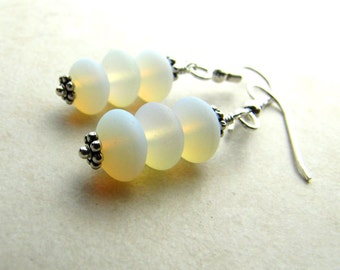 Sea Glass Seaglass Earrings Opal White BellinaCreations Bellina Creation