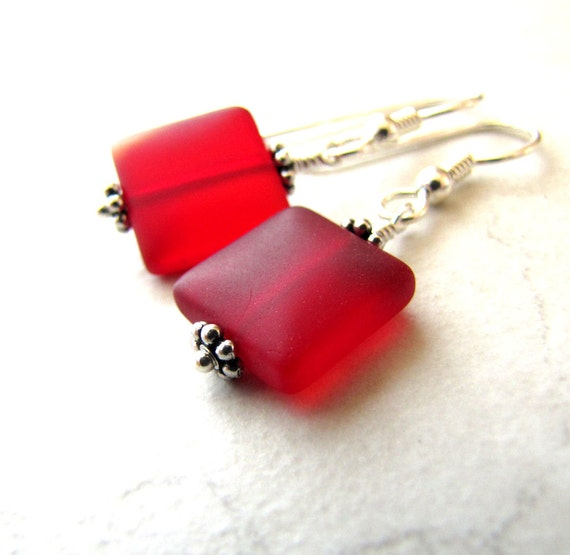 Sea Glass Earrings, Seaglass Earrings, Beach Jewelry, Beach Wedding, Seaglass Jewelry, Ocean Earrings, Beach Earrings, Red Seaglass