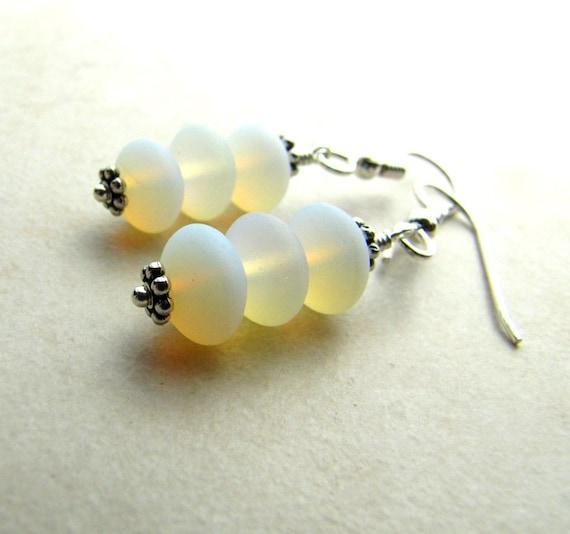 Sea Glass Seaglass Earrings Opal White BellinaCreations Bellina Creation