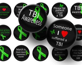 TBI awareness 1 Inch Circles-Digital collage sheet-Bottle cap images-Printable download-Bottlecaps-Scrapbooking-Magents- BUY 3 get 1 FREE