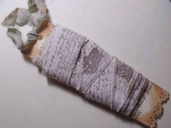 Hand Stamped Muslin Ribbon French Shabby Chic 2 yrds