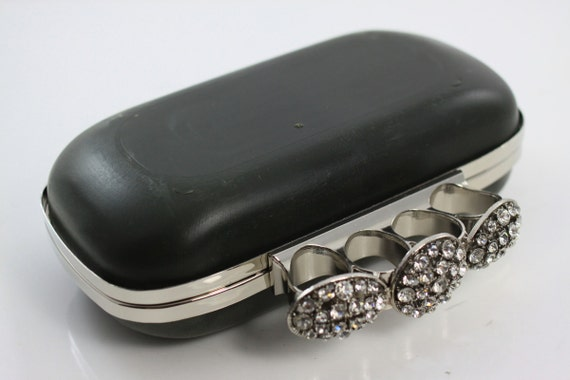 7 1/4 x 4 inches (18.5 x 10cm) - 4 Rings Diamond - Oval Shape Dressing Case Silver Clutch Frame with Covers (CBF-4R10)