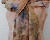 Hand Dyed Tissue Linen Scarf in Peach with blue and taupe undertones