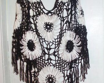 Black and White  Crochet  Lace Triangle Shawl with Fringe