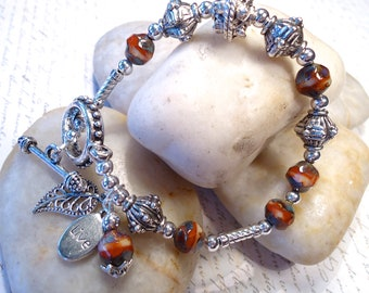 Sunset Picasso Bead and Metal Bracelet