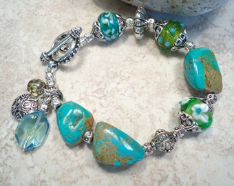 Turquoise Nugget Silver Lined Bead Bracelet