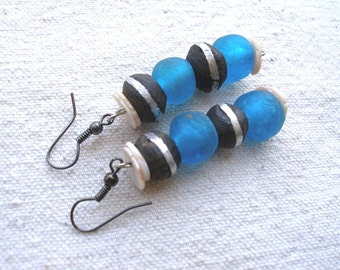 African blue recycled glass wood and shell Earrings by Fianaturals