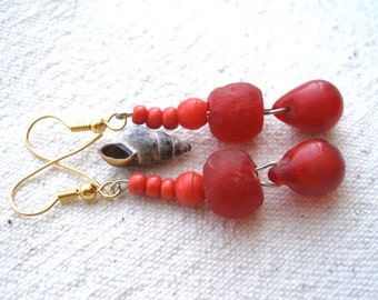 African red Mali wedding recycled glass earrings by Fianaturals