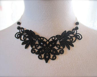 Black Lace Necklace Lace Fashion Victorian Choker Fabric Jewelry Vintage style Collar Retro Dramatic bib Jewelry Statement Necklace