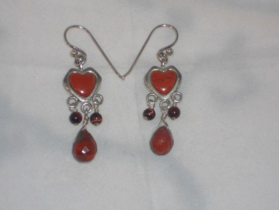 Vintage Barse Sterling Silver and Carnelian dangle earrings