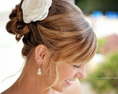 Alissa ivory bridal wedding hair flowers, ivory bridal hair accessories, ivory hair flower