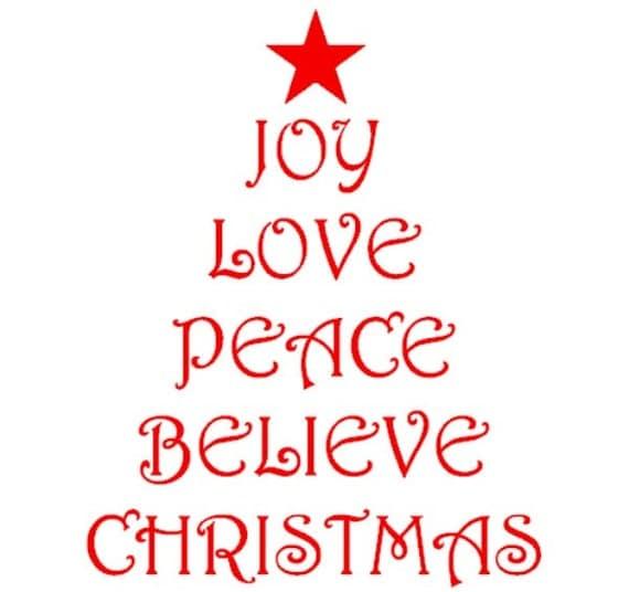 Christmas Tree Shape With Christmas Words Joy Love Peace