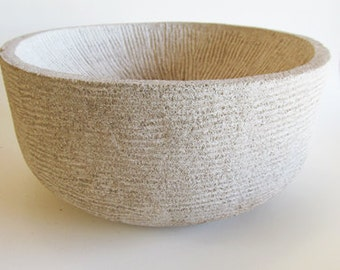 Hand-tooled Limestone Bowl