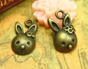 20 pcs Antique Bronze Bunny Charms Rabbit Charms 13x8mm CH1032