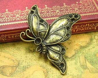 6 pcs Antique Bronze Butterfly Charms 53x43mm CH1051
