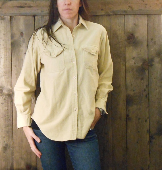 SALE tan ivory flannel chamois shirt / womens S M