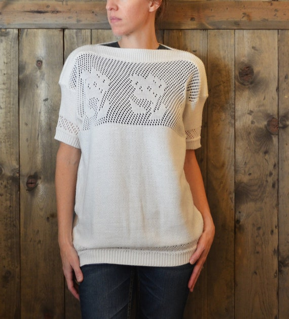 SALE white pointelle short sleeve summer sweater / M