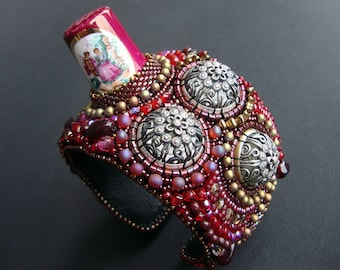 """FREE SHIPPING Bead Embroidery Cuff   """"seamstress""""  Bracelet"""