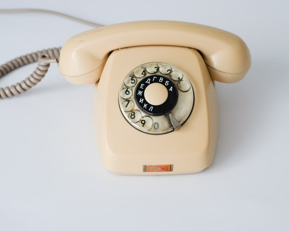 Vintage Cream Rotary Phone - Elektrim RWT Poland - Home Decor - Collectible