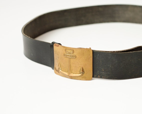 Vintage Soviet Navy Belt - Military Marine Uniform - USSR - Anchor on the Buckle - Men's Belt - Collectible