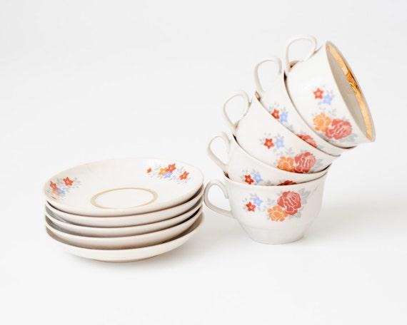 Flower Design Vintage Kitchen Set - 5 Teacups 5 Saucers - Riga Porcelain - USSR Soviet Vintage