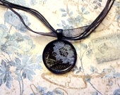RESERVED FOR COREY  White Lace Necklace - Organza Cord Necklace with Round Snake Skin patternerd Pendant with White Lace