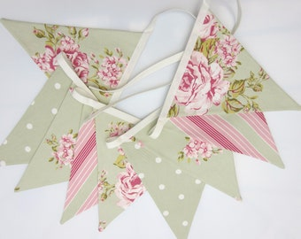 Fabric Bunting, Sage Green and Pink, shabby chic bunting, Fabric Garland, Floral Bunting, Wedding Bunting, Baby Shower, Party Bunting