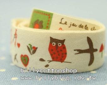 V143 - cotton tape/ sewing tape/ Ribbon - owl