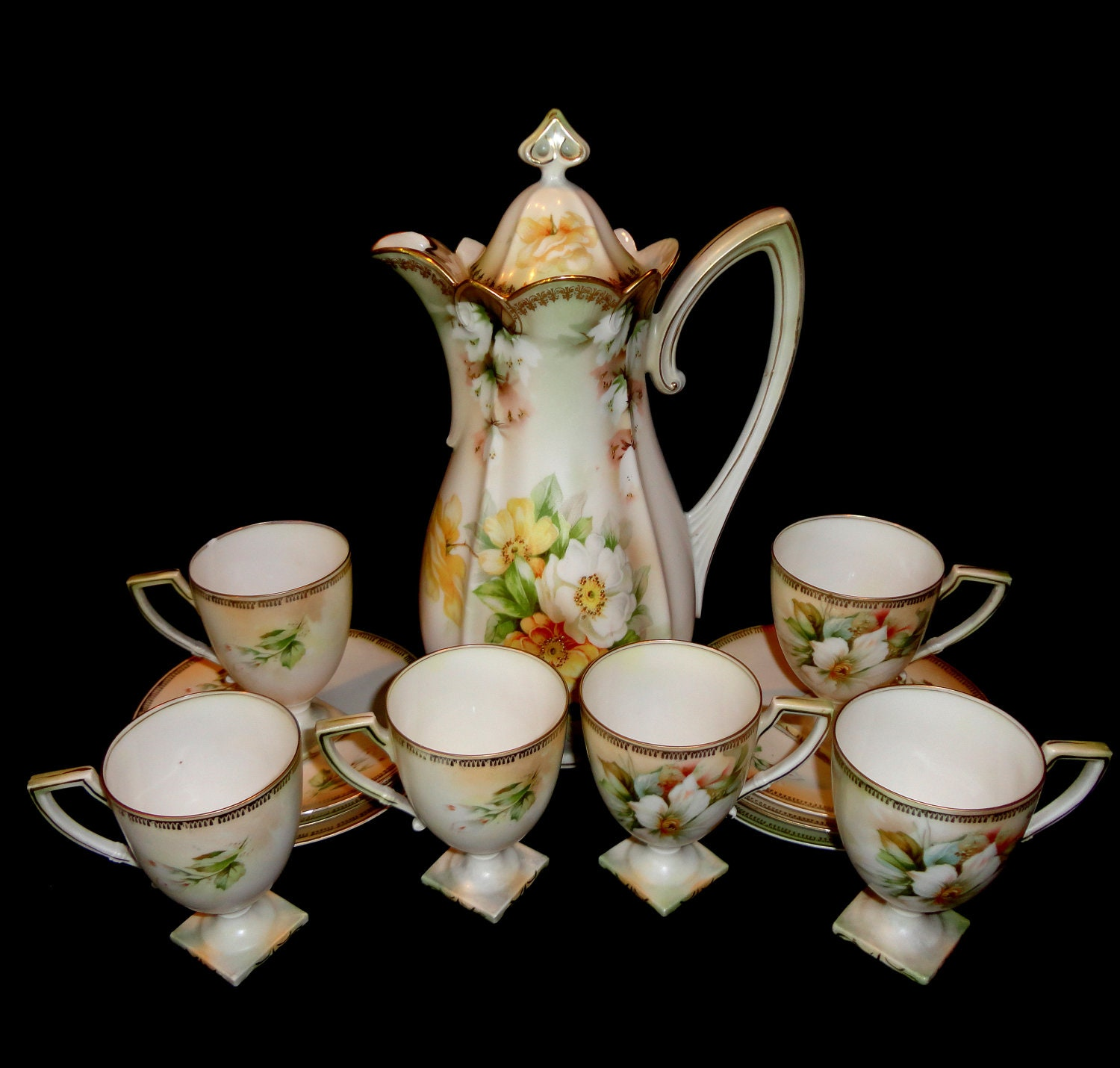 Antique Chocolate Pot By R S Prussia And 6 Demitasse Cups