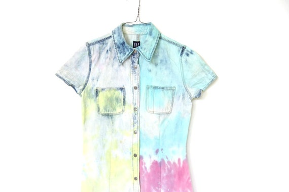 90s denim GAP tie dyed mini dress