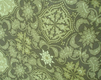 New Abstract Flower Medallion One Yard Shades of Green 100% Cotton Fabric Printed for Hobby Lobby