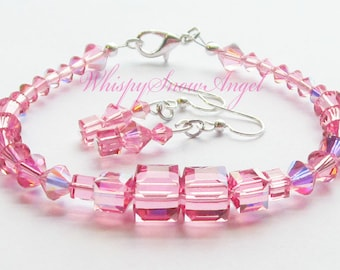 Pink Swarovski Cube and Bicone Bracelet with Earrings Set Wedding Prom